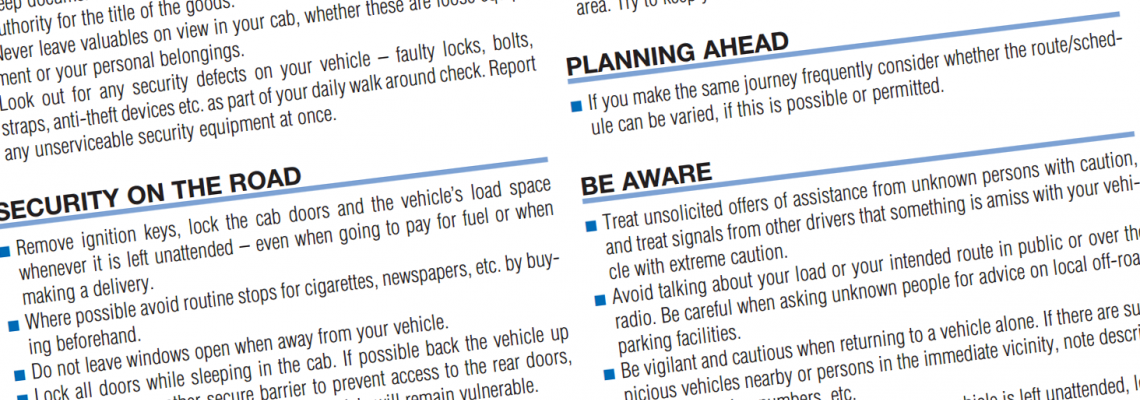 Security advice for trucks operators and drivers