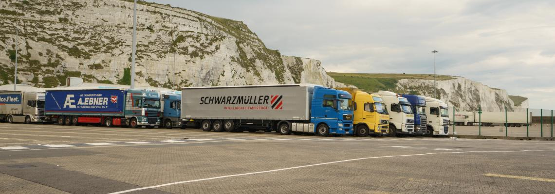 Trucks waiting in the queue to board ferry at Dover port