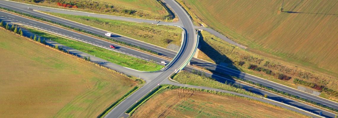 aerial view of highway in the EU