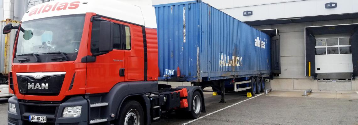Truck in docking bay