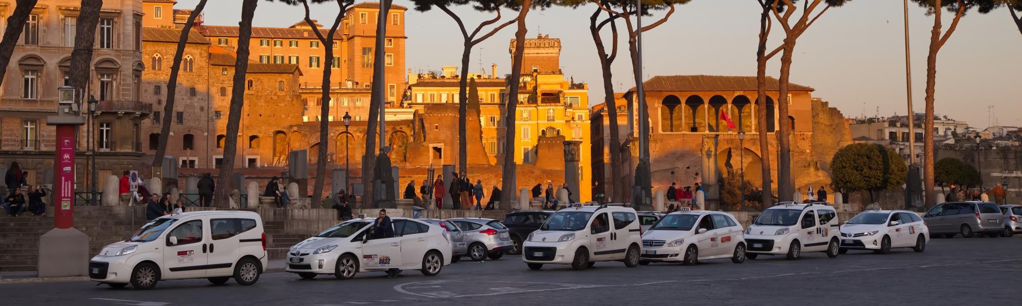 rome dusk taxis lining up