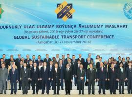 Ashgabat Conference sustainable transport summit group photo