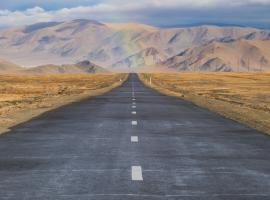 road in the steppe of Mongolia