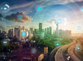 smart city with road and connections