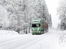 image of a truck on winter road