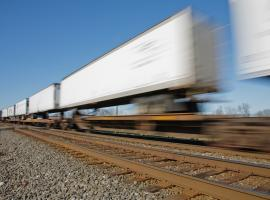 intermodal truck on tracks
