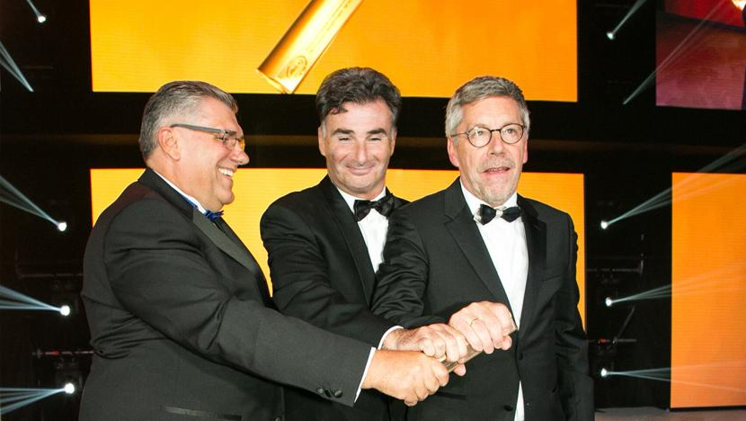 Christian Labrot and Umberto de Pretto receiving the Friends of Road Transport Award